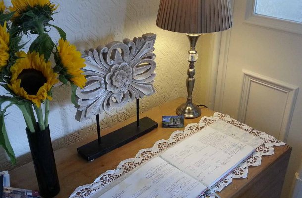 Guest Book on reception desk
